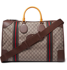 Gucci Leather-Trimmed Monogrammed Coated-Canvas Duffle Bag
