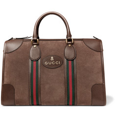 Gucci Webbing and Leather-Trimmed Suede Holdall