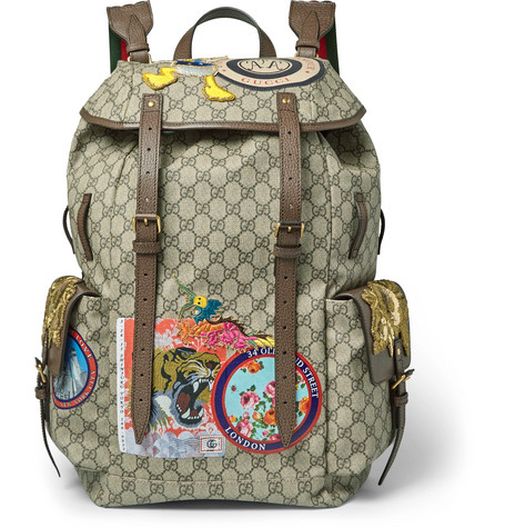 89d158e64 Gucci Leather-Trimmed AppliquÉD Monogrammed Coated-Canvas Backpack In Brown