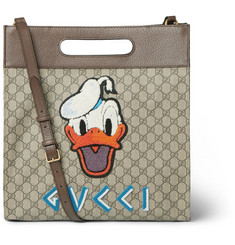 Gucci + Disney Leather-Trimmed Appliquéd Monogrammed Coated-Canvas Tote Bag