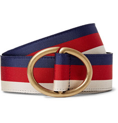 Gucci - 3.5cm Leather-Trimmed Striped Webbing Belt