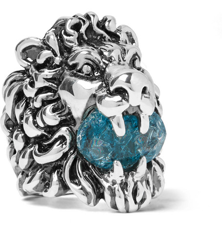 gucci male gucci lions head silvertone swarovski crystal ring silver