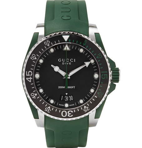 gucci male gucci dive 40mm stainless steel and rubber watch dark green