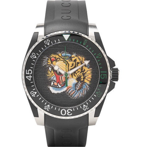 gucci male gucci dive tigerdial 40mm stainless steel and rubber watch black