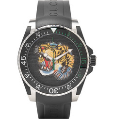 Gucci - Dive Tiger-Dial 40mm Stainless Steel and Rubber Watch