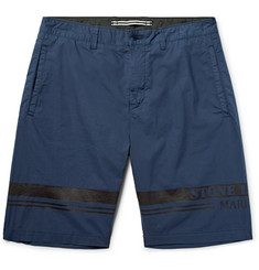 Stone Island Slim-Fit Printed Stretch-Cotton Poplin Bermuda Shorts