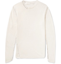 Isabel Benenato Asymmetric Open-Knit Linen Sweater