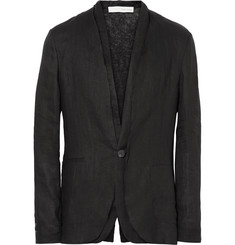 Isabel Benenato Black Raw-Edged Linen Blazer