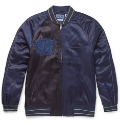 Blue Blue Japan - Embroidered Satin Souvenir Bomber Jacket
