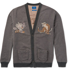 Beams Intarsia-Knit Cotton Cardigan