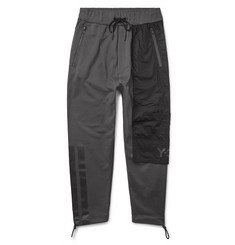 Y-3 Slim-Fit Cropped Poplin-Panelled Loopback Cotton-Jersey Sweatpants