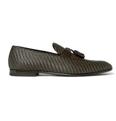 Ermenegildo Zegna Lido Pelle Tessuta Leather Tasselled Loafers