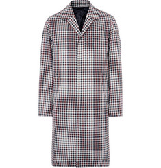 AMI Checked Cotton and Virgin Wool-Blend Coat