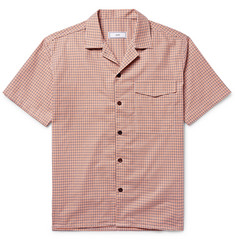 AMI Camp-Collar Checked Cotton Shirt