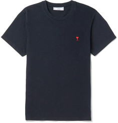 AMI Slim-Fit Embroidered Cotton-Jersey T-Shirt