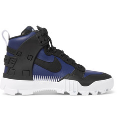 Nike + Undercover SFB Jungle Dunk Rubber-Trimmed Leather High-Top Sneakers