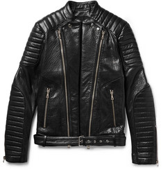 Balmain Quilted Textured-Leather Biker Jacket