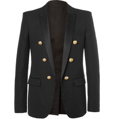 Balmain Black Slim-Fit Double-Breasted Cotton Blazer