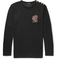 Balmain Slim-Fit Embroidered Cotton-Jersey T-Shirt