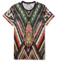 Balmain Printed Cotton and Linen-Blend Jersey T-Shirt
