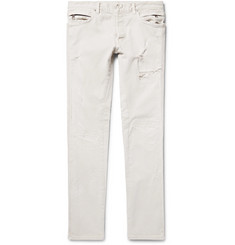 Balmain - Slim-Fit Distressed Stretch-Denim Biker Jeans