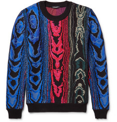 Balmain Jacquard-Knit Cotton-Blend Sweater