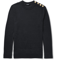Balmain Slim-Fit Distressed Ribbed Linen Sweater