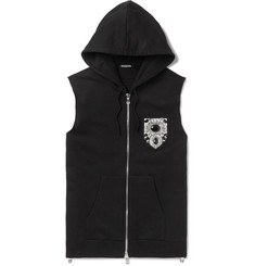 Balmain Slim-Fit Embellished Loopback Cotton-Jersey Sleeveless Hoodie