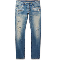 Balmain Skinny-Fit Distressed Denim Biker Jeans