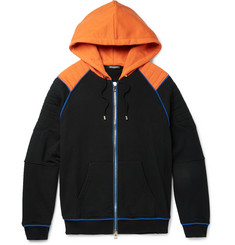 Balmain Contrast-Trimmed Loopback Cotton-Jersey Zip-Up Hoodie