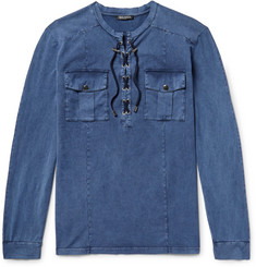 Balmain Slim-Fit Lace-Up Cotton Shirt