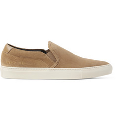 Common Projects Retro Leather-Trimmed Suede Slip-On Sneakers