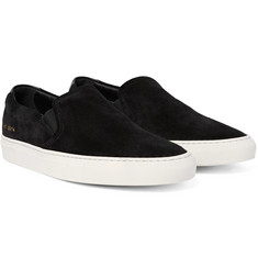 Common Projects - Retro Leather-Trimmed Suede Slip-On Sneakers