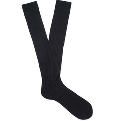 Ermenegildo Zegna - Ribbed Cotton Over-the-Calf Socks