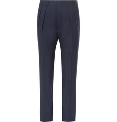 TOM FORD Blue Slim-Fit Pleated Wool and Silk-Blend Suit Trousers