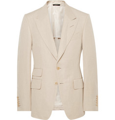 TOM FORD - Beige Shelton Slim-Fit Silk and Linen-Blend Suit Jacket