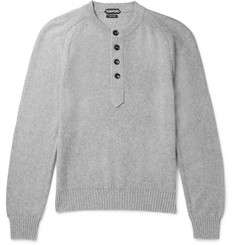 TOM FORD Cotton, Cashmere and Cotton-Blend Henley Sweater