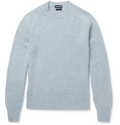 TOM FORD Mélange Cashmere and Linen-Blend Sweater