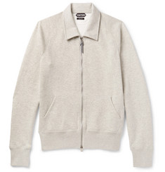 TOM FORD Mélange Cotton-Blend Jersey Zip-Up Sweatshirt
