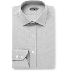 TOM FORD - Slim-Fit Gingham Cotton-Poplin Shirt