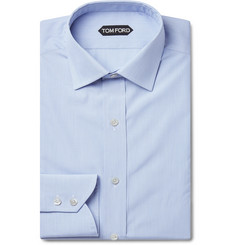 TOM FORD Blue Slim-Fit Striped Cotton Shirt