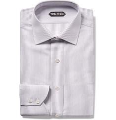 TOM FORD - Grey Slim-Fit Striped Cotton Shirt
