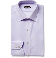 TOM FORD - Purple Slim-Fit Striped Cotton-Poplin Shirt