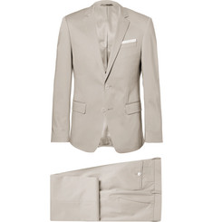 Hugo Boss Grey Hudson Slim-Fit Stretch-Cotton Suit