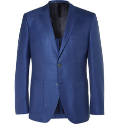 Hugo Boss - Blue Janson Slim-Fit Wool and Silk-Blend Hopsack Blazer