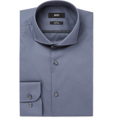 Hugo Boss - Grey Jerrin Slim-Fit Cutaway-Collar Cotton-Poplin Shirt