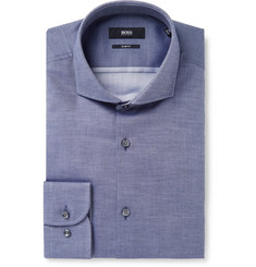 Hugo Boss Blue Jerrin Slim-Fit Cutaway-Collar Cotton-Jacquard Shirt