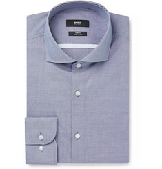 Hugo Boss Blue Jerrin Slim-Fit Cutaway-Collar Micro-Gingham Cotton Shirt