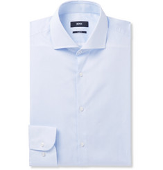 Hugo Boss Blue Jerrin Cutaway-Collar Striped Cotton-Poplin Shirt
