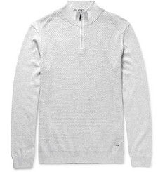 Hugo Boss Textured-Knit Cotton Half-Zip Sweater